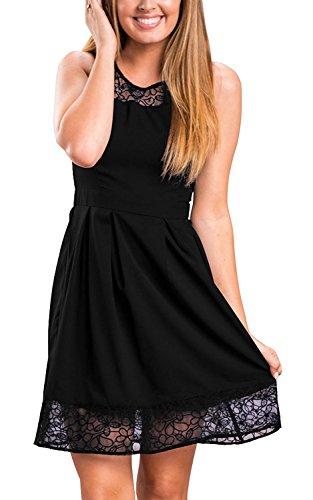 Minetom Femme Sans Manches Casual Slim Robe Plage Dress Vintage Dentelle Cocktail Fête Robe Robe Casuel Pour Soirée Noir