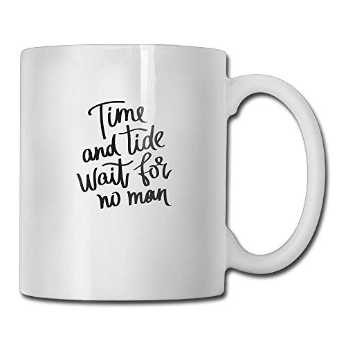 VVIANS Time and Tide Wait for No Man Casual Printed Coffee Tea Mug Cup for Men Women Office Work Adult3.14W x 3.74H(8x9.5cm) - Freezer Cleaner