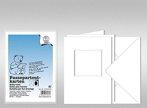Lot de 10 cartes passe-partout, blanc, fenêtre carrée, avec enveloppes
