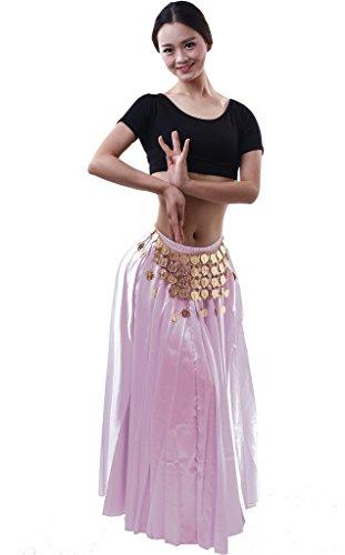 Astage Damen Lange Satin Vollrund Rock Tanzkostüm Bauchtanz-Kostüm Pink