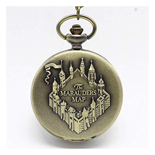 Kostüm Jubiläums - ACZZ Taschenuhr und Kette für Männer, Vintage Large Clamshell Watch, als älteres Geschenk/Jubiläum/Vatertag Peaky Blinders Kostüm,A