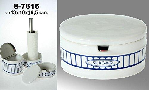 DonRegaloWeb Sucrier circulaire en Céramique Blanc/Bleu
