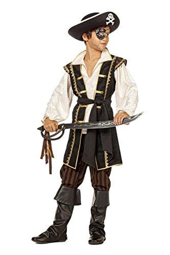 Piraten-Kostüm Jungen Oberteil (Weste mit Hemd) und Hose schwarz braun Kinderkostüm Pirat Freibeuter Karneval Fasching Hochwertige Verkleidung Fastnacht Größe 140 Schwarz