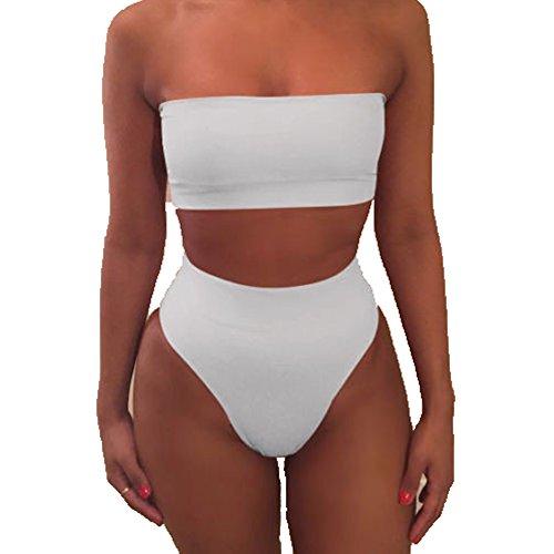 Liqy Womens Strapless Bandeau Bikini Set Two Pieces Padded Swimsuit Swimwear Beachwear,Bikini