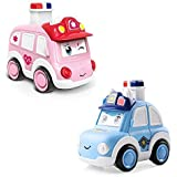 Soflita™Baby Cars Toy for 1 Year Old Boy, Toddler Push Go Toy Wind Up Cars Unbreakable Colourful Press and Go, Pull Along Fri