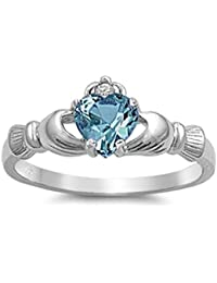 925 Sterling Silver Blue Topaz Color Cubic Zirconia Claddagh Ring
