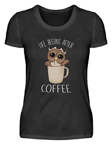 EBENBLATT Life Begins After Coffee Eule Kaffee Geschenk - Damenshirt -XL-Schwarz (Koffein Süchtig Kostüm)