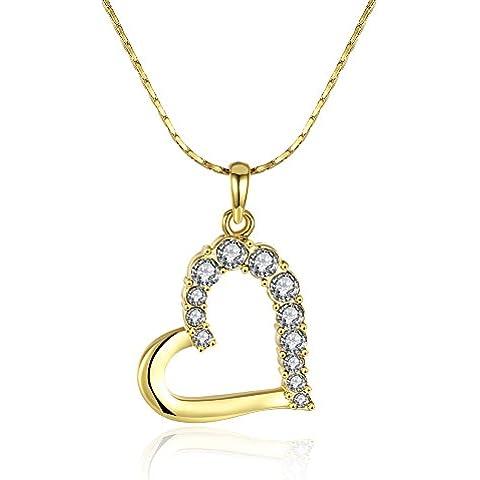 wibern 18kyellow placcato oro collana con ciondolo a cuore per donna lucido CZ Fashion Jewelry