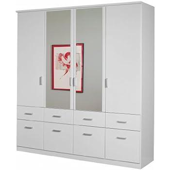 Kleiderschrank weiß mit spiegel  Rauch Kleiderschrank mit Spiegel 4-türig Weiß Alpin mit 8 ...