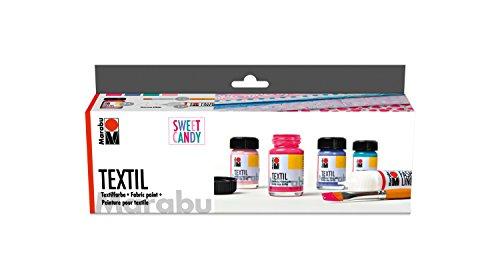 Marabu 1716000000096 - Textil Starter Set Sweet Candy, Stoffmalfarbe, Wasserbasis, für helle Stoffe, weicher Griff, waschbeständig bis 60°C, für Stoffmalerei und -druck, 6 x 15 ml Farbe und Pinsel (Candy Farbe)