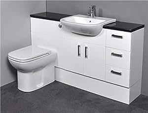 Gloss White Bathroom Furniture 1500mm Basin Sink Toilet