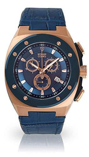 DETOMASO Como Herren-Armbanduhr Chronograph Analog Quarz Edelstahlgehäuse Lederarmband - Jetzt mit 5 Jahren Herstellergarantie (Leder - Blau)