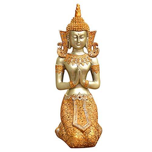 Statue, Harz Skulptur, Thai Diener Dekoration, Mini Desktop Dekoration, Dekoration, Wohnzimmer, BüRo, Hochzeitsgeschenk (12,5X9,5X26 - Traditionelle Thai Kostüm