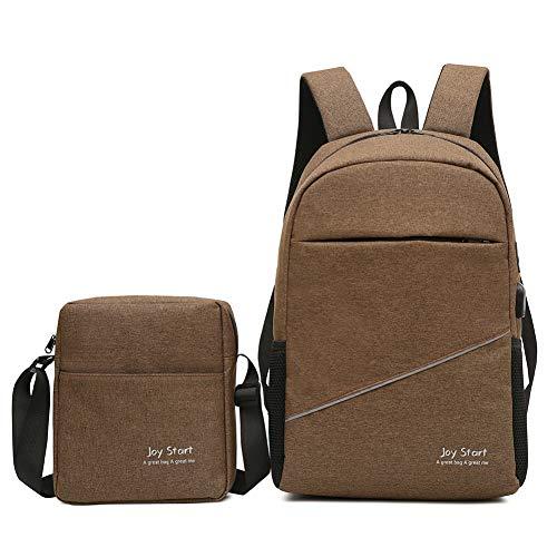 WREEE Freizeit Reise Rucksack mit USB Multifunktions Laptop Bag (Unisex),Brown