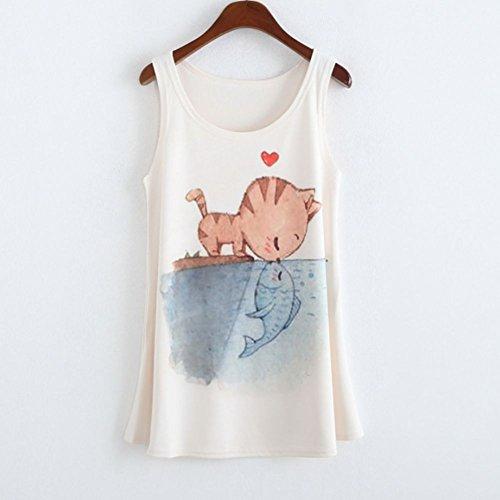 Etosell Femmes Sans Manches T-Shirts Imprimes Animaux Floral Chemisier Gilet 20 Couleurs A17