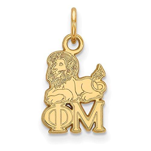 Lex & LU logoart vergoldet Sterling Silber Phi Mu XS Anhänger lal158641