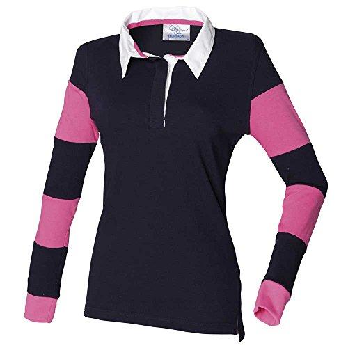 Front Row - Maglia da rugby, da donna, con maniche a strisce - Navy/Navy/Bright Pink