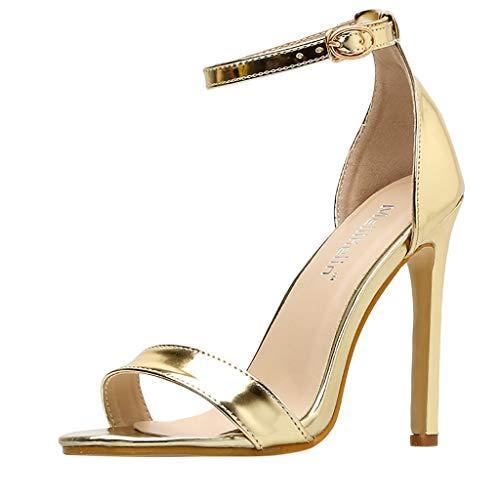 XNBZW Damen Peep Toe Kätzchen Abend Schuhe | Sommer Stiletto Sind Einfach Single Strap Style High Heel | 11CM Hochzeit Party patent-Leather Pump | Übergröße Elegant Schuhe mit Schnalle(Gold,38) Gold Peep Toe Schuhe