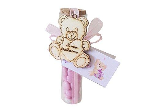 Chance 24 provette porta confetti 11,5 + nembo + 24 decorazioni legno orsetto + nastrino + bigl (rosa)