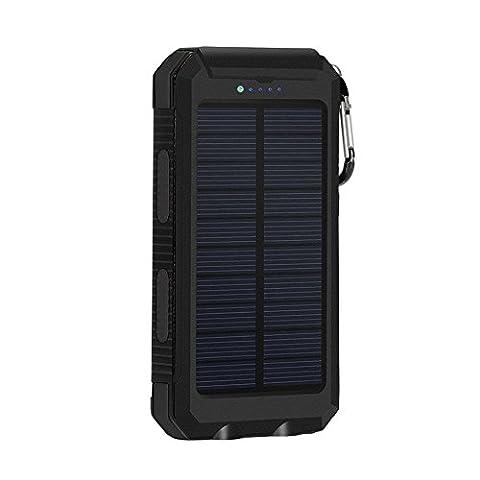 Solar Power Bank Chargeur de batterie externe 12000 mAh Panneau solaire avec LED Lampe de poche et boussole batterie de secours Lot Dual USB chargeur de téléphone portable pour iPhone HTC Samsung Camera Tablette