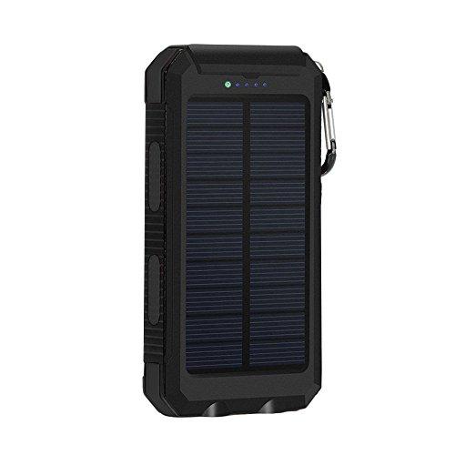 Solar Power Bank Ladegerät 12000mAh Solar Panel Externer Akku mit LED Taschenlampe und Kompass Backup Akku Pack Dual USB Portable Handy Ladegerät für iPhone HTC Samsung Kamera Tablet