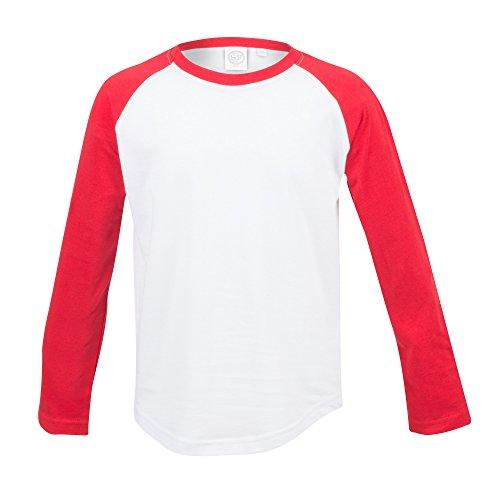 Skinni Minni Kinder Langarm Baseball T-Shirt (7-8 Jahre (128)) (Weiß/Rot) (Weiße Baseball-t-shirt)
