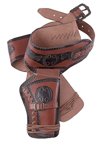 Westernholster aus Leder Revolvergürtel Revolver mit zwei Holster Cowboy Western (Kostüme Revolverheld Western)
