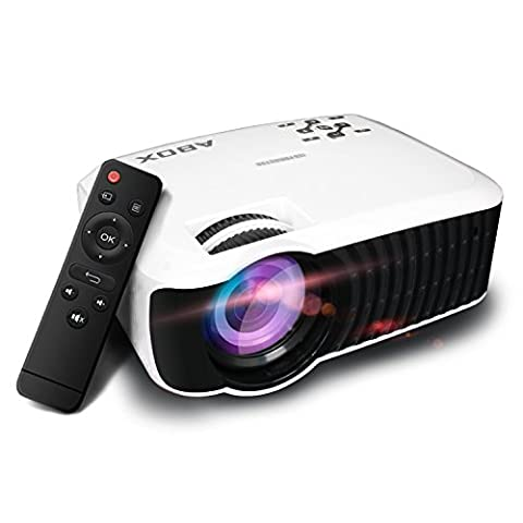 GooBang Doo ABOX T22 2000 Lumens LCD Mini Projector, Multimedia Home Theater Video Projector Support HDMI USB SD Card VGA AV for Home Cinema TV Laptop Game iPhone Andriod Smartphone with Free HDMI