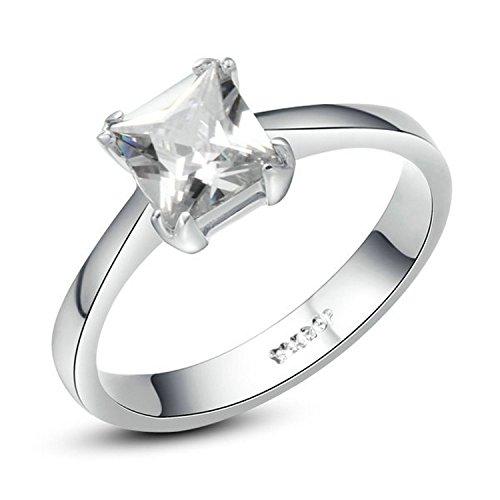 Yoursfs anillo de boda chapado en oro blanco con cristal brillante sencillo y Transparente un regalo para las mujeres