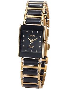 AMPM24 Damen Armbanduhr Analog Rechteck Gehäuse schwarz Edelstahl Armband Quarzuhr WAA771