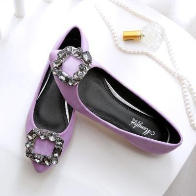 &qq Chaussures de dames plates, chaussures de daim sauvages pointues, chaussures de mode 41