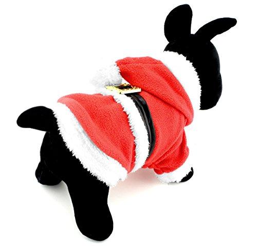 selmai Weihnachts Kleine Hunde Kostüm Santa Weihnachten Fleece Hoody Puppy Winter Fell Schneeanzug Halloween Urlaub Party Kleidung