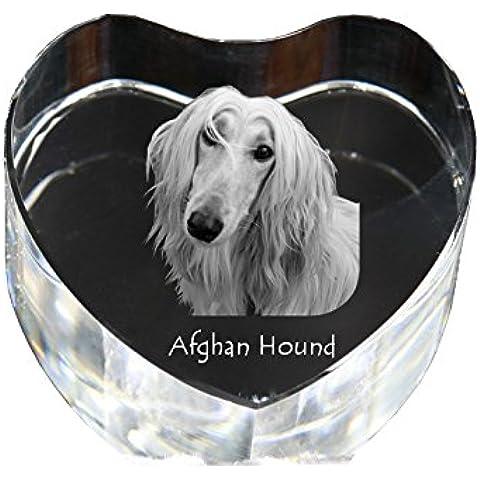 Levriero afgano, Cuore di cristallo con il cane, souvenir, decorazione, in edizione limitata, la raccolta di vetro - Cuore Afgano