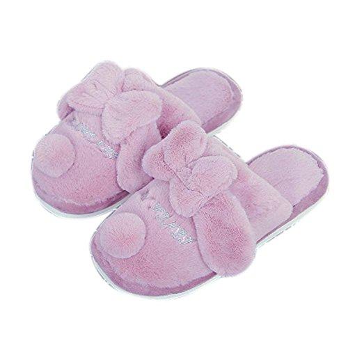 Zapatillas de casa con nudo de felpa suave para interiores, de la casa Zapatillas de casa con luz suave de zapatillas pa