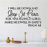 Citazione Wall Sticker Adesivo da Muro Adesivi Murali Frasi Citazione Wall Sticker Adesivo da Muro Adesivi Murali Frasi Mi sdraierò e dormirò in pace per la pace Salmo 4: 8 versetto biblico