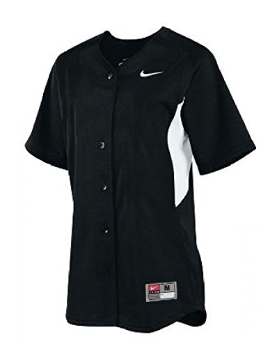 Nike-womens Stock (Nike Damen Stock Full Button Softball Jersey (Gro?, Schwarz / Wei?))