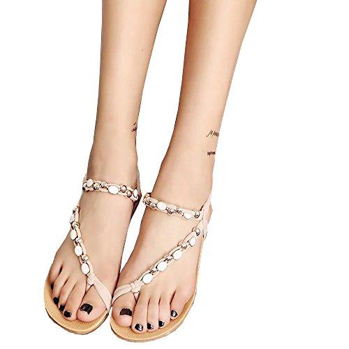 TianWlio Sandalen Damen Sommer Flache Schuhe Perlen Böhmen Freizeit Sandalen Peep-Toe Flip Flops Schuhe Beige 38