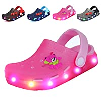 Nishiguang Kids Cute LED Flash Lighted Garden Shoes Clogs Sandals Boys and Girls Summer Breathable Slippers Pink Size: 10 M US Toddler