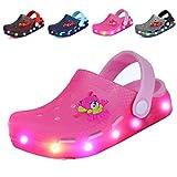 Nishiguang Kinder LED Clogs Flash beleuchtete Nette Gartenschuhe Strand Sandalen Sommer Slip-On atmungsaktiv Slipper für Jungen/Mädchen Pink 30