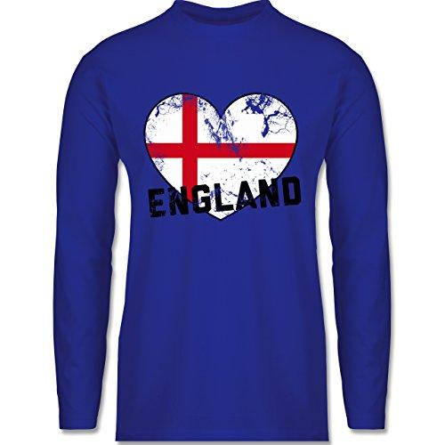 EM 2016 - Frankreich - England Herz Vintage - Longsleeve / langärmeliges T-Shirt für Herren Royalblau