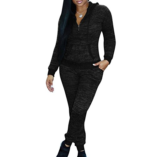 Donna Tuta da Ginnastica 2 Pezzi - Moda Manica Lunga Cerniera Felpa con Cappuccio e Lungo Pantaloni Tuta Jogging Training Sportiva Casual Abbigliamento Sportivo