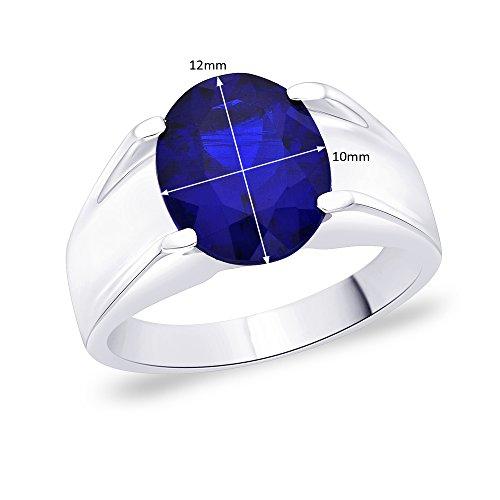 Peora Silver Men's Blue Ring