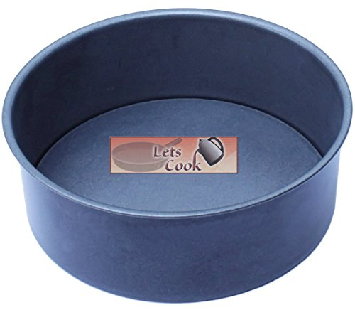 8 Inch Deep Round Cake Tin, Loose Base, 20cm, British Made with GlideX Non-Stick Home & Professional use by Lets Cook Cookware
