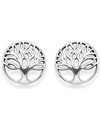 Sterling Silver Tree of Life Earrings - Yggdrasil stud earrings - Size: 14mm. Gift Boxed 5297