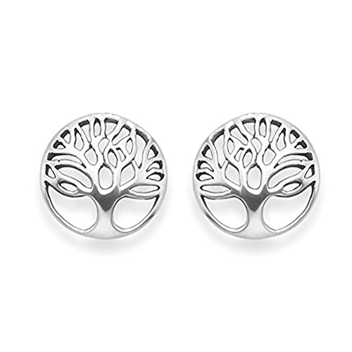 Heather Needham Sterling Silver Tree of Life Earrings - Yggdrasil stud earrings - Size: 14mm - Gift Boxed 5297 tZXQxjub