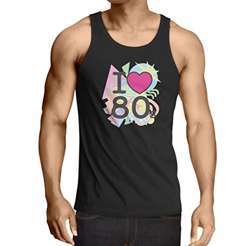 Weste Ich liebe 80er Konzert t-shirts Weinlese Kleidungs Musik t-shirts geschenke (Medium Schwarz Mehrfarben)