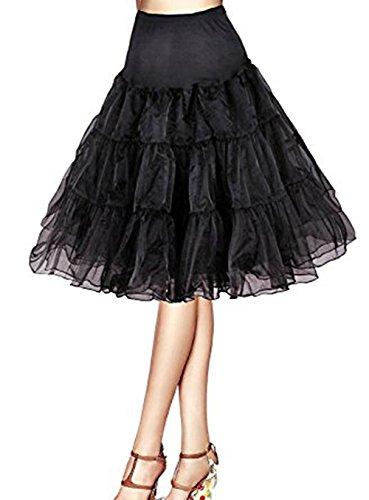 MEITEMEI 1950 Petticoat Reifrock Unterrock Petticoat Underskirt Crinoline für Rockabilly Kleid Schwarz L
