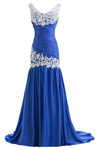 Sunvary Hochwertig Neu Traeger Satin Applikation Abendkleid Brautkleid Lang Royalblau