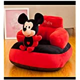 Best Premium Quality Baby Soft Plush Cushion Baby Sofa Seat OR Rocking Chair for Kids 0 to 4 Years (Black/Red)