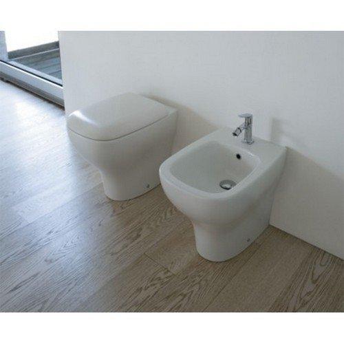Preisvergleich Produktbild Sanitär Draht Wand Keramik Globo Genesis 55WC + Bidet + Sitz, weiß